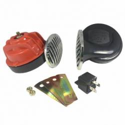 HORN 12V 88mm W-RELAY RED SET
