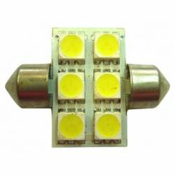 BULB ROOF LED 24V SV8.5 10X44 6LED WHITE BLIST 2U